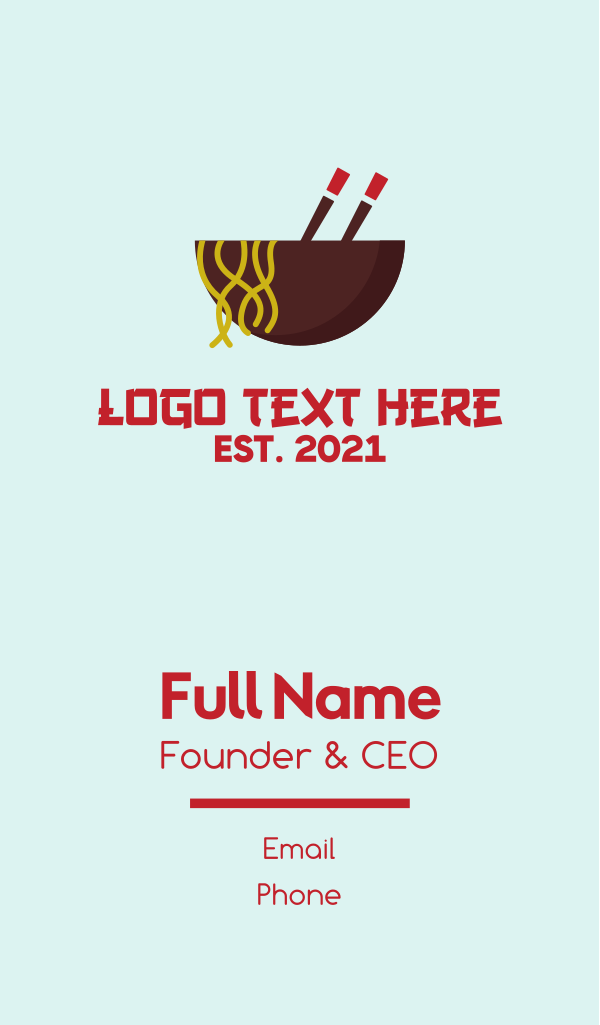 Oriental Noodles Restaurant Business Card