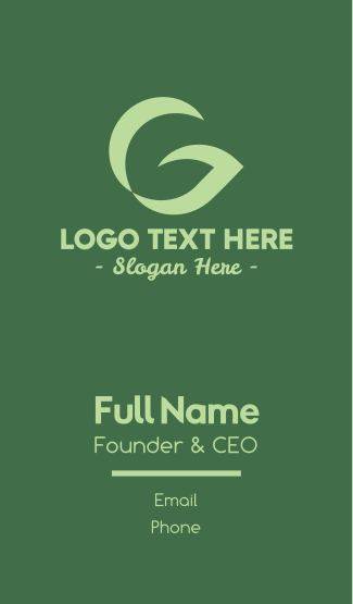 Leafy Letter G Business Card