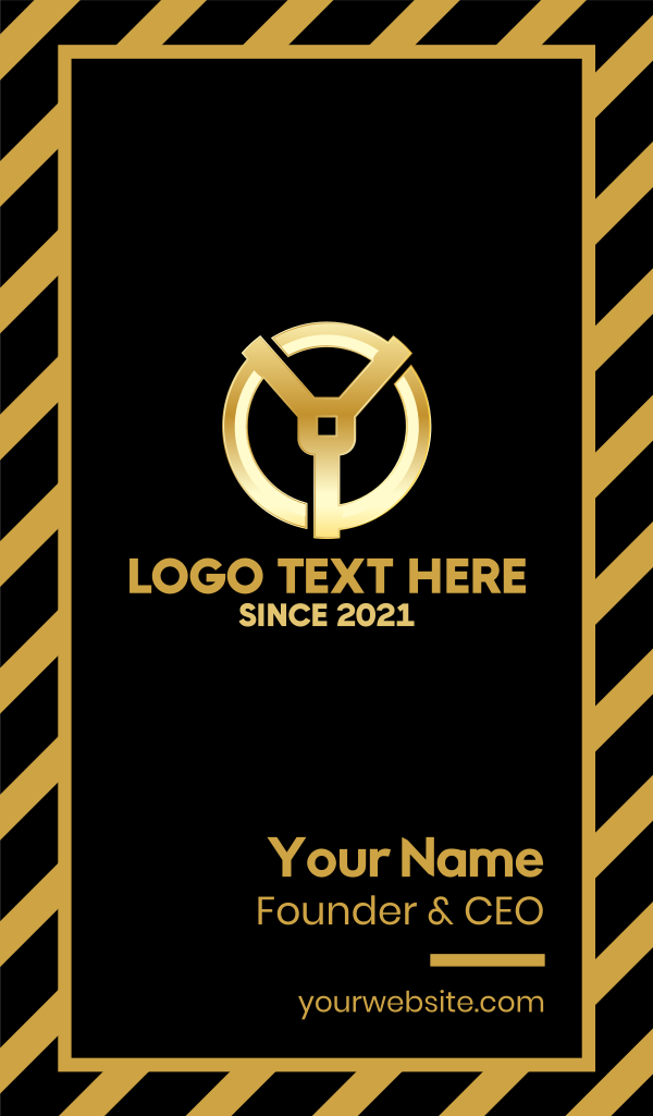 Golden Letter Y Business Card