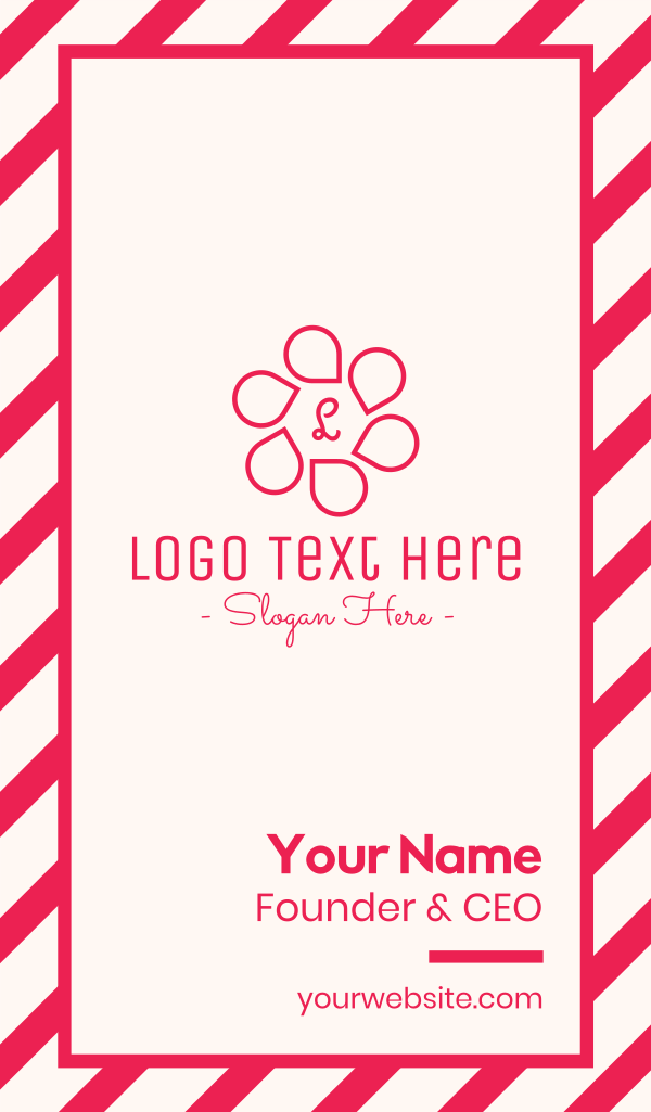 Pink Flower Petals Lettermark Business Card