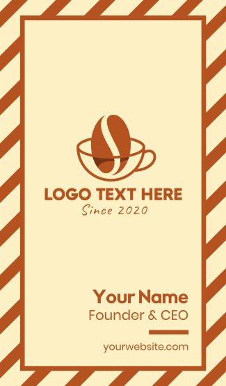 Coffee Bean Cup Cafe Business Card