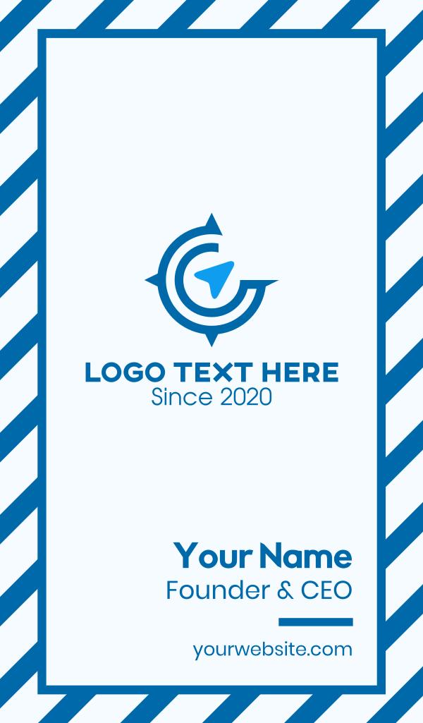 Blue Travel Compass Business Card
