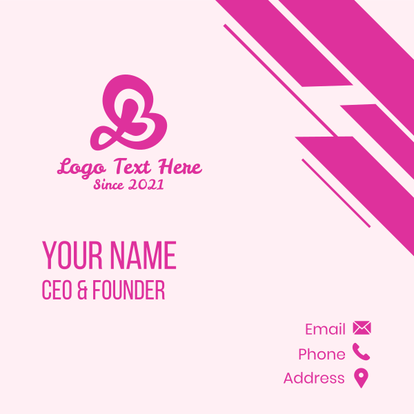 Pink Letter B Beauty Business Card