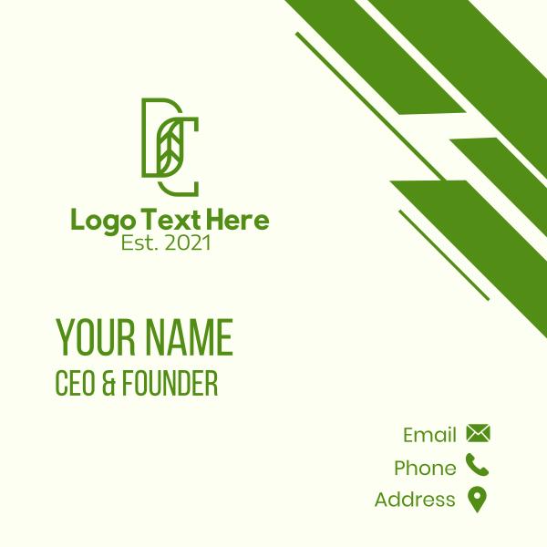 Green Leaf DC Monogram Business Card