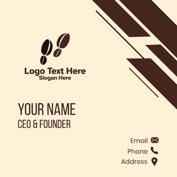 Coffee Bean Footsteps Business Card