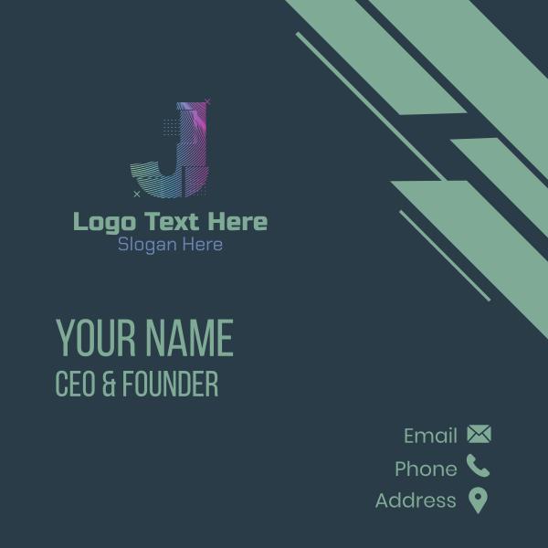 Modern Glitch Letter J Business Card