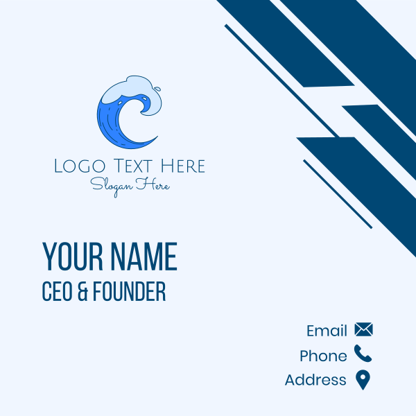 Blue Surfing Wave Business Card