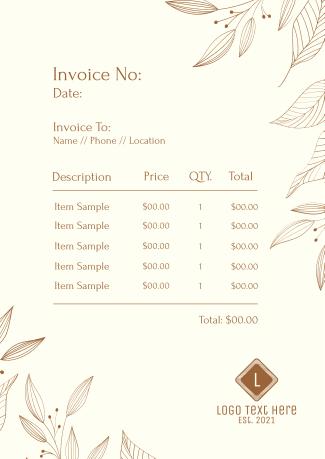 Leaves Wreath Invoice