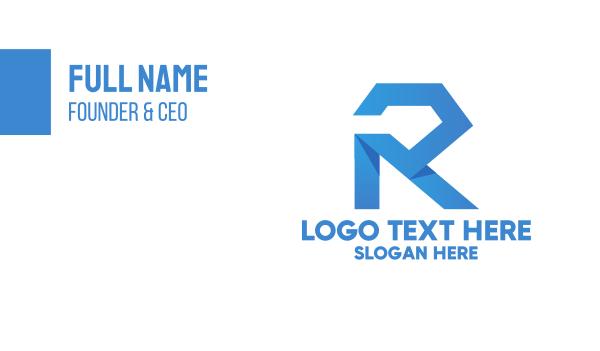 pricey - Blue Geometric Diamond Letter R Business card horizontal design
