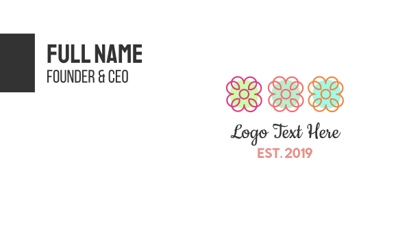 friendly - Three Flowers Business card horizontal design