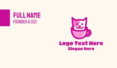 Pink Pet Cat Cafe Business Card
