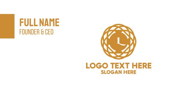 jeweler - Golden  Pendant Lettermark Business card horizontal design