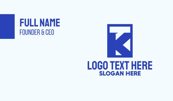 rectangle - Blue Chat Letter K Business card horizontal design