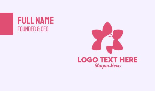 botanical-skincare - Pink Flower Face Business card horizontal design
