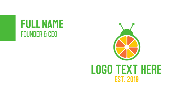orange insect - Orange Fruit Bug Business card horizontal design