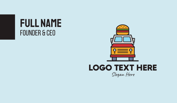 food delivery service - Burger Food Truck Business card horizontal design
