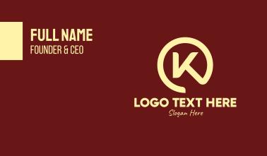 Chef Emblem Letter K Business Card