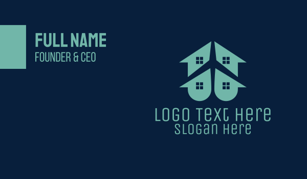 travel agent - House & Plane Business card horizontal design