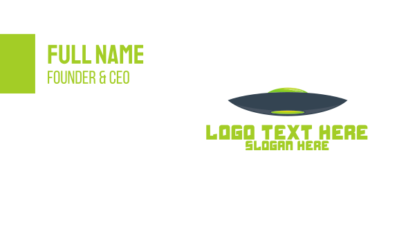 extraterrestrial - Blue & Green UFO Business card horizontal design