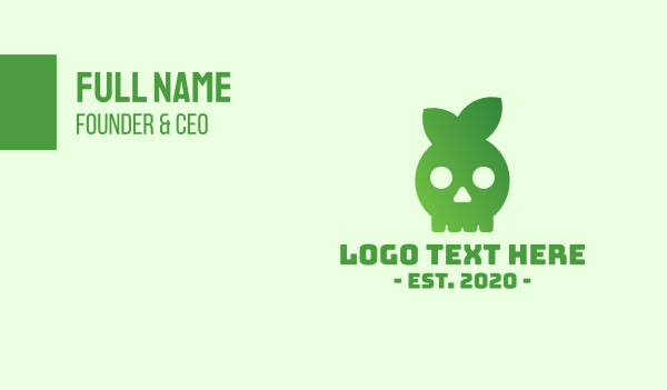 organic - Leaf Skull Business card horizontal design