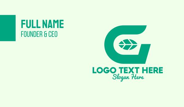 herbal - Green Leaf Letter G Business card horizontal design