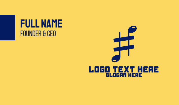 hashtag - Musical Sharp Business card horizontal design