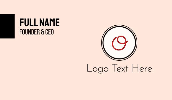 red girl - Red Cursive Letter O Business card horizontal design