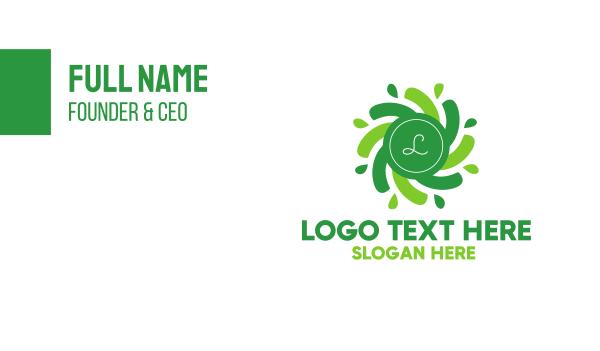radial - Green Radial Lettermark Business card horizontal design