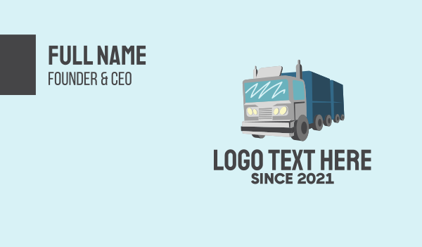 cargo delivery - Long Haul Truck  Business card horizontal design