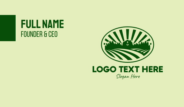fields - Farm House Field  Business card horizontal design
