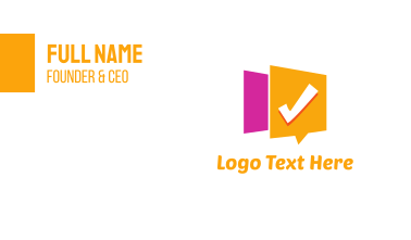 Checked Message Business Card