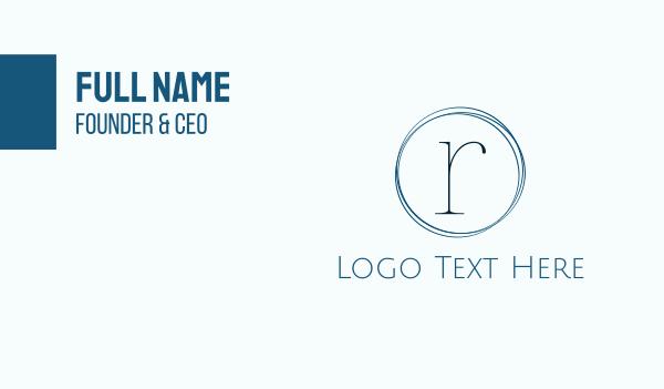 couture - Minimalist Blue R Business card horizontal design