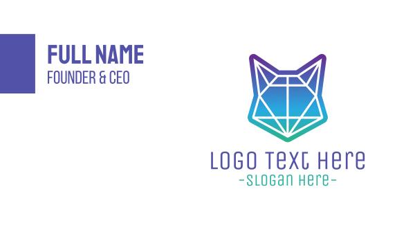 amazing - Abstract Neon Fox Business card horizontal design