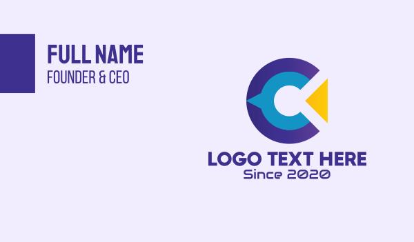 telecommunication - Modern Tech Letter C Business card horizontal design