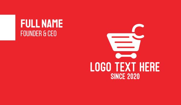credit card - Shopping Cart Letter C Business card horizontal design