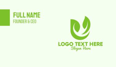 Green Herbal Letter U Business Card