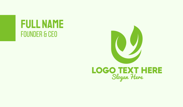 organic farm - Green Herbal Letter U Business card horizontal design