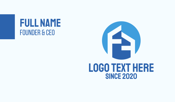 development - Letter F House Business card horizontal design