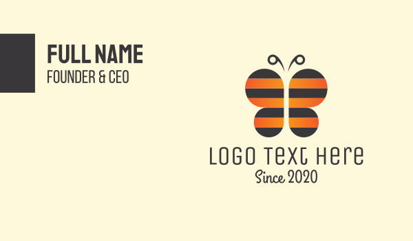 kids boutique - Bee & Butterfly Business card horizontal design