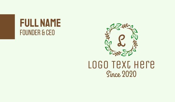 stem - Branch Plant Wreath Business card horizontal design