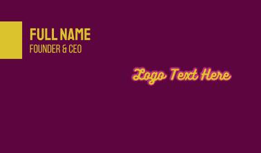 Glowing Fashion Wordmark Business Card