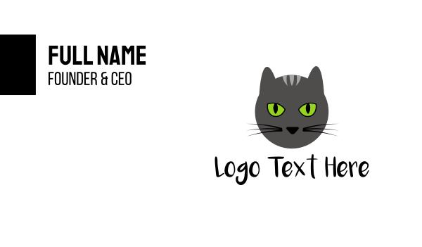 black cat - Grey Cat Green Eyes Business card horizontal design
