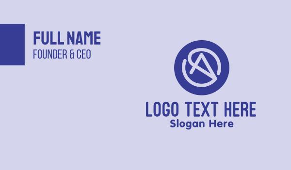 internet cafe - Purple Cursor Letter A Business card horizontal design