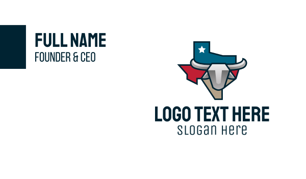travel guide - Texas Bull Business card horizontal design