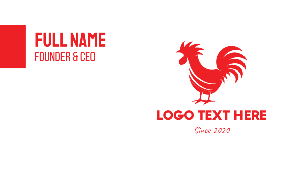 red bird - Red Rooster Silhouette Business card horizontal design