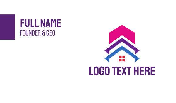 home services - Colorful Building House  Business card horizontal design