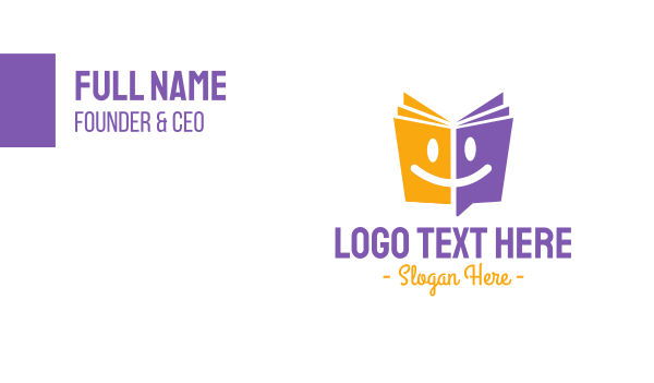 language - Preshool Book Chat  Business card horizontal design