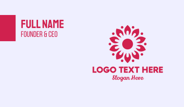 Sunny Pink Flower Business Card