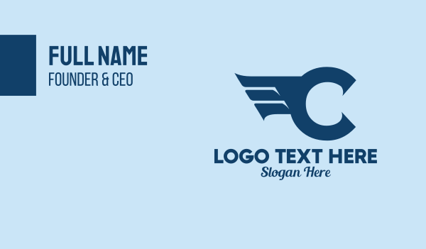 airlines - Blue Letter C Wings  Business card horizontal design