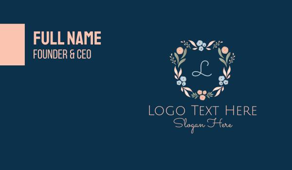 flower crown - Dainty Floral Letter Business card horizontal design